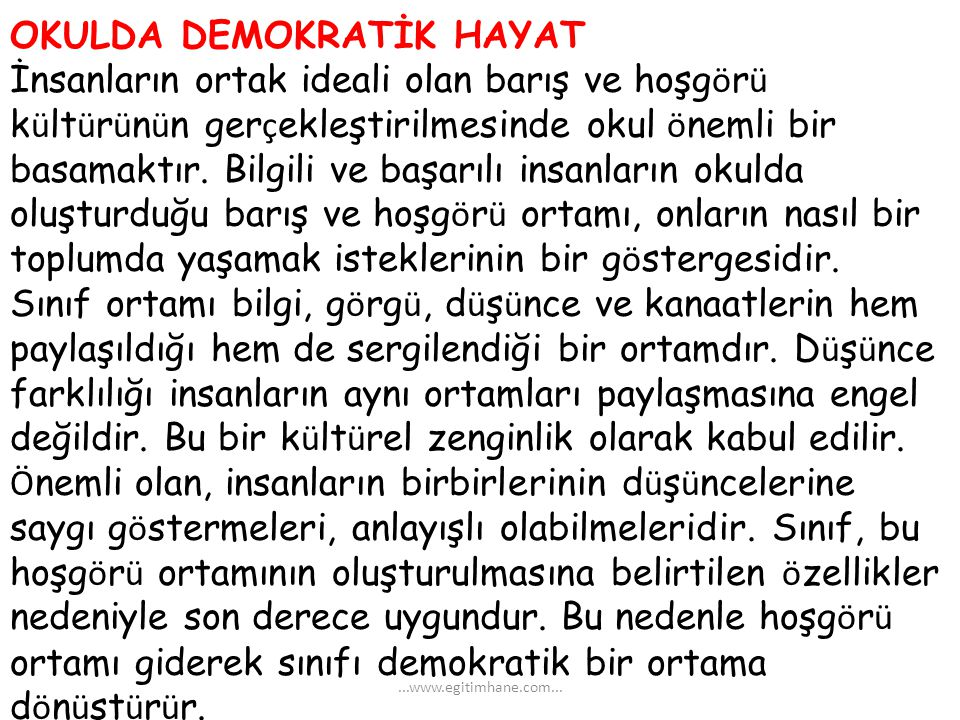 OKULDA DEMOKRATİK HAYAT