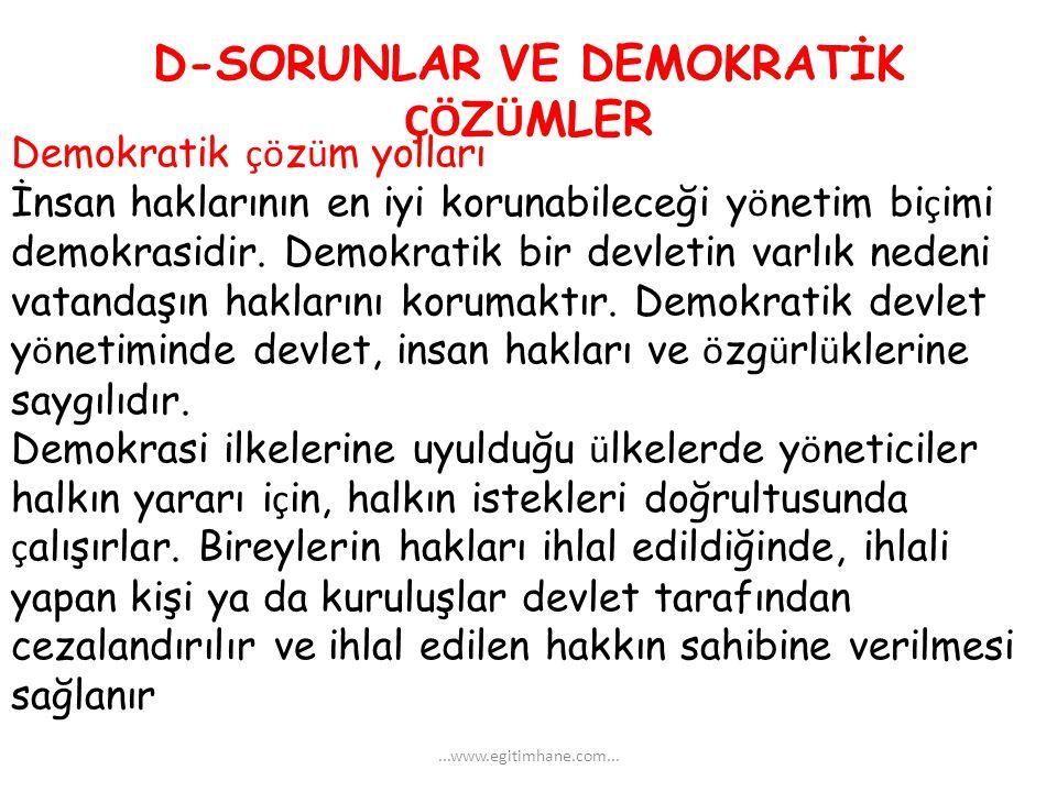 D-SORUNLAR VE DEMOKRATİK ÇÖZÜMLER