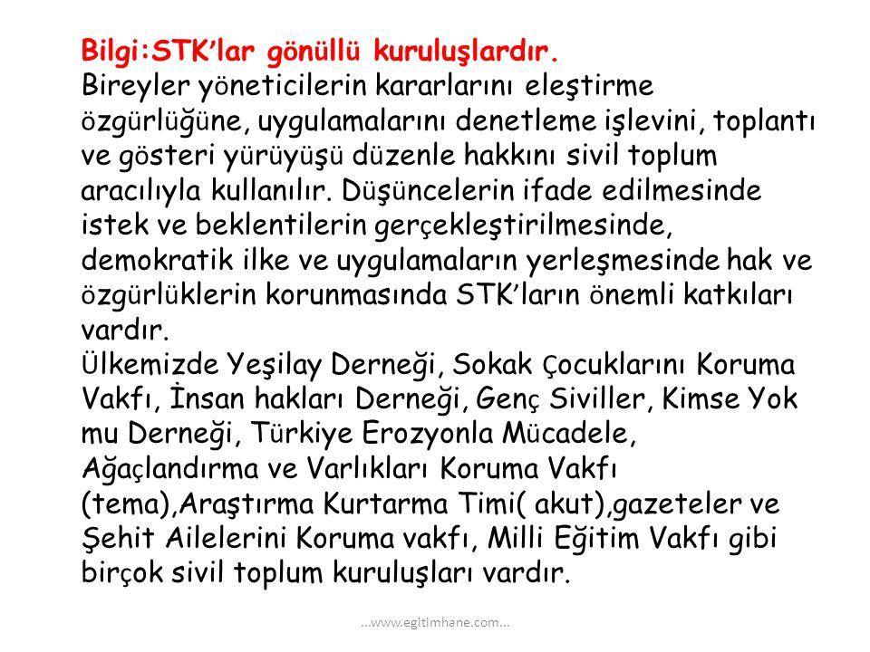 Bilgi:STK'lar gönüllü kuruluşlardır.