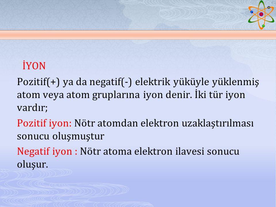 İYON Pozitif(+) ya da negatif(-) elektrik yüküyle yüklenmiş atom veya atom gruplarına iyon denir. İki tür iyon vardır;