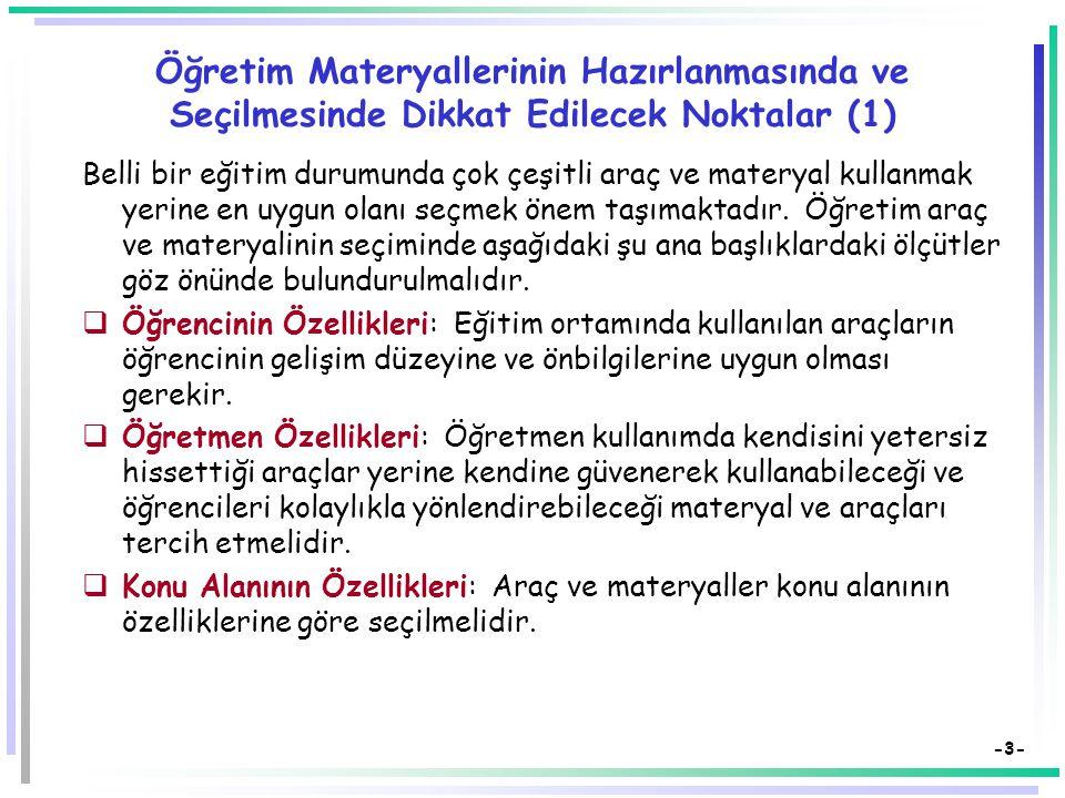 Öğretim Materyallerinin Hazırlanmasında ve Seçilmesinde Dikkat Edilecek Noktalar (1)
