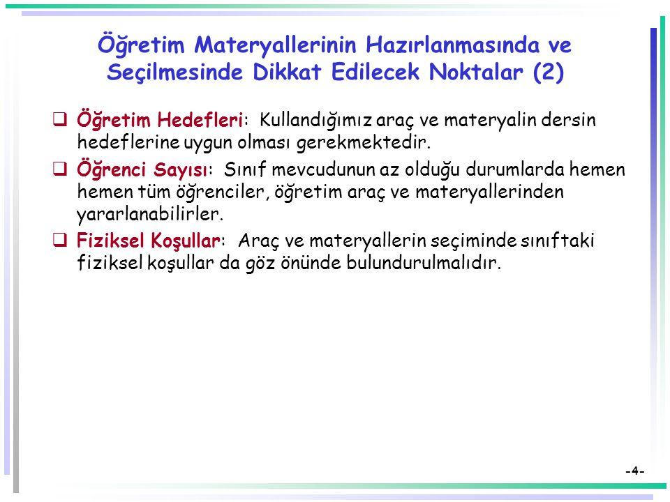 Öğretim Materyallerinin Hazırlanmasında ve Seçilmesinde Dikkat Edilecek Noktalar (2)