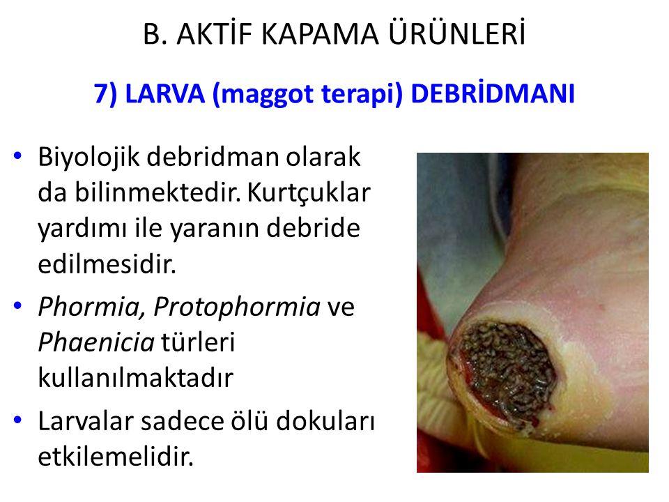 7) LARVA (maggot terapi) DEBRİDMANI