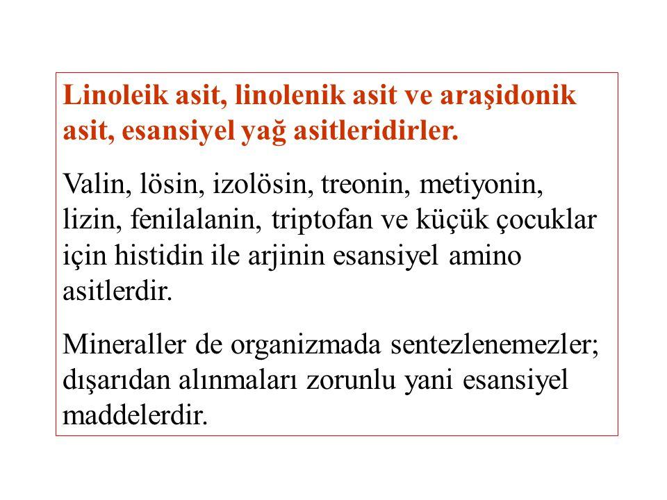 Linoleik asit, linolenik asit ve araşidonik asit, esansiyel yağ asitleridirler.