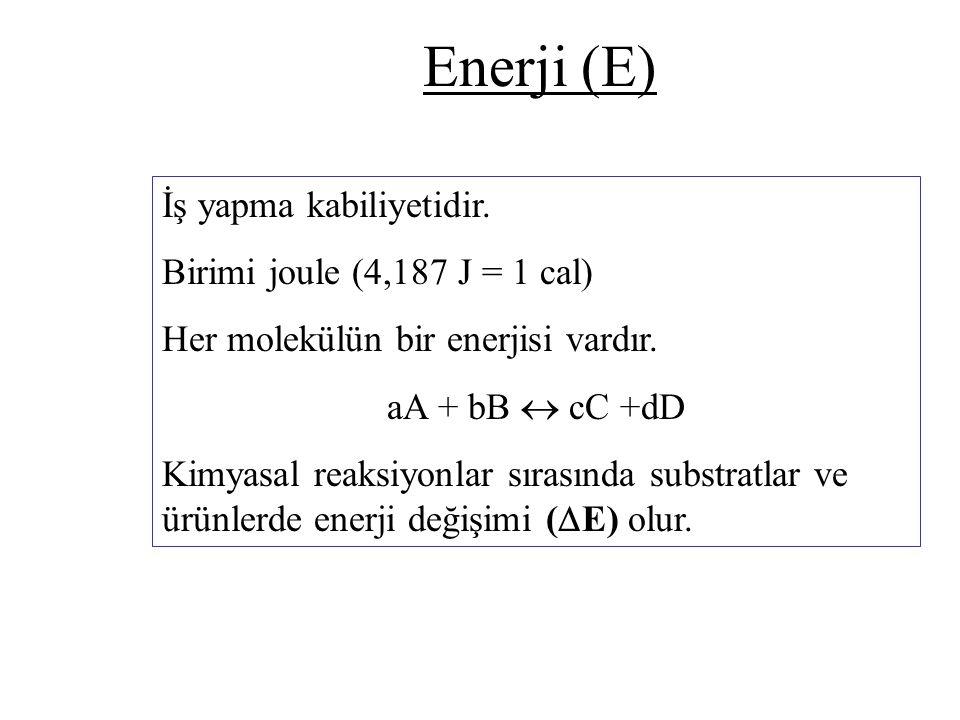 Enerji (E) İş yapma kabiliyetidir. Birimi joule (4,187 J = 1 cal)