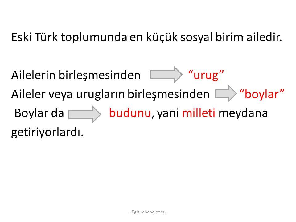 Eski Türk toplumunda en küçük sosyal birim ailedir