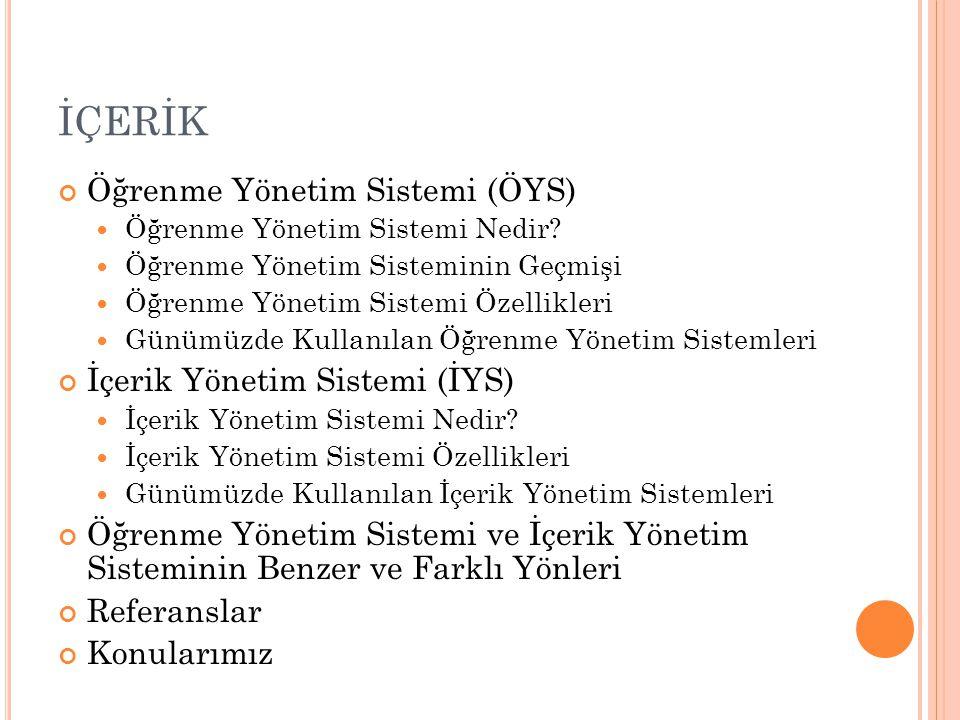 İÇERİK Öğrenme Yönetim Sistemi (ÖYS) İçerik Yönetim Sistemi (İYS)