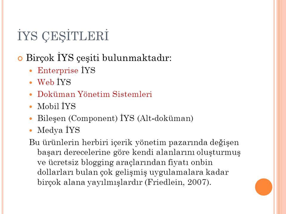 İYS ÇEŞİTLERİ Birçok İYS çeşiti bulunmaktadır: Enterprise İYS Web İYS