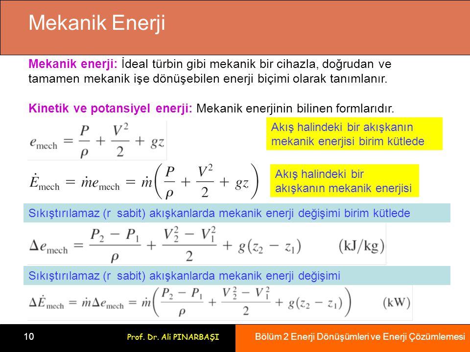 Mekanik Enerji Mekanik enerji: İdeal türbin gibi mekanik bir cihazla, doğrudan ve. tamamen mekanik işe dönüşebilen enerji biçimi olarak tanımlanır.