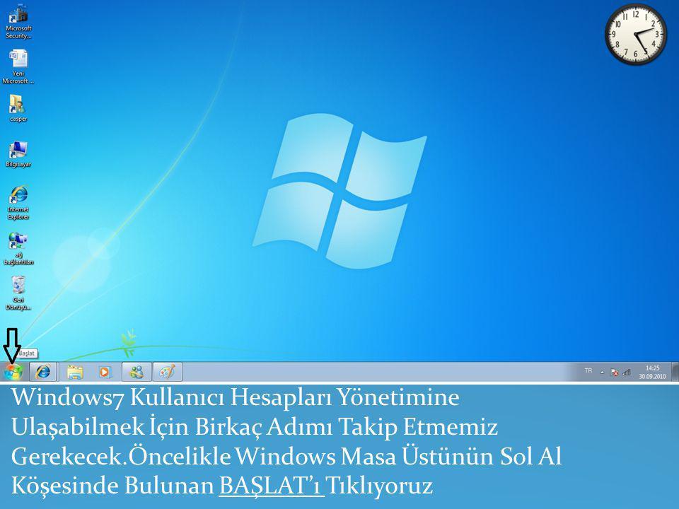 Windows7 Kullanıcı Hesapları Yönetimine Ulaşabilmek İçin Birkaç Adımı Takip Etmemiz Gerekecek.Öncelikle Windows Masa Üstünün Sol Al Köşesinde Bulunan BAŞLAT'ı Tıklıyoruz