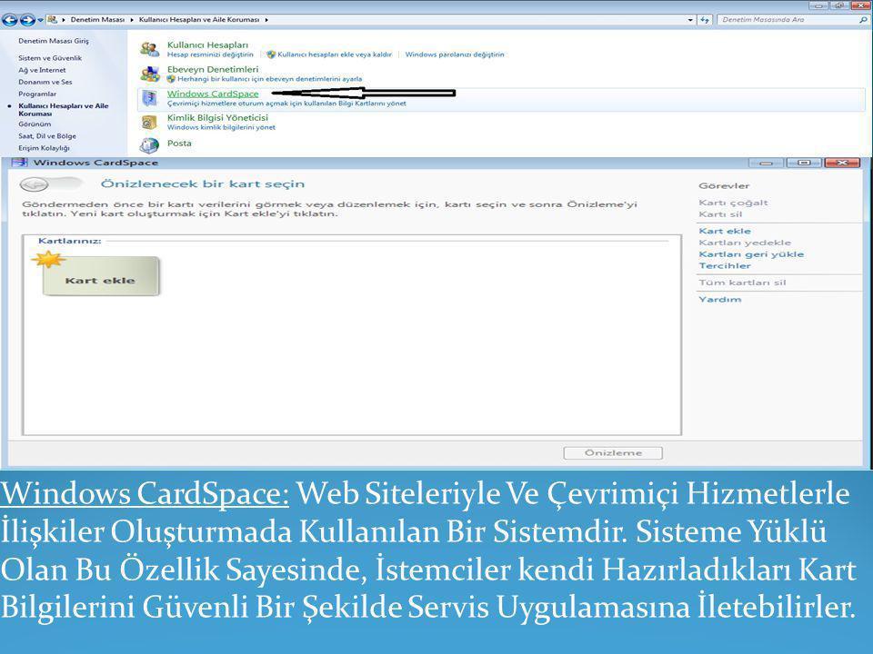 Windows CardSpace: Web Siteleriyle Ve Çevrimiçi Hizmetlerle İlişkiler Oluşturmada Kullanılan Bir Sistemdir.