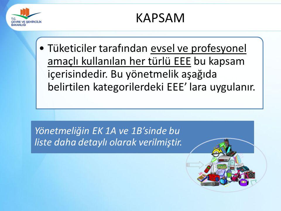 KAPSAM Yönetmeliğin EK 1A ve 1B'sinde bu liste daha detaylı olarak verilmiştir.