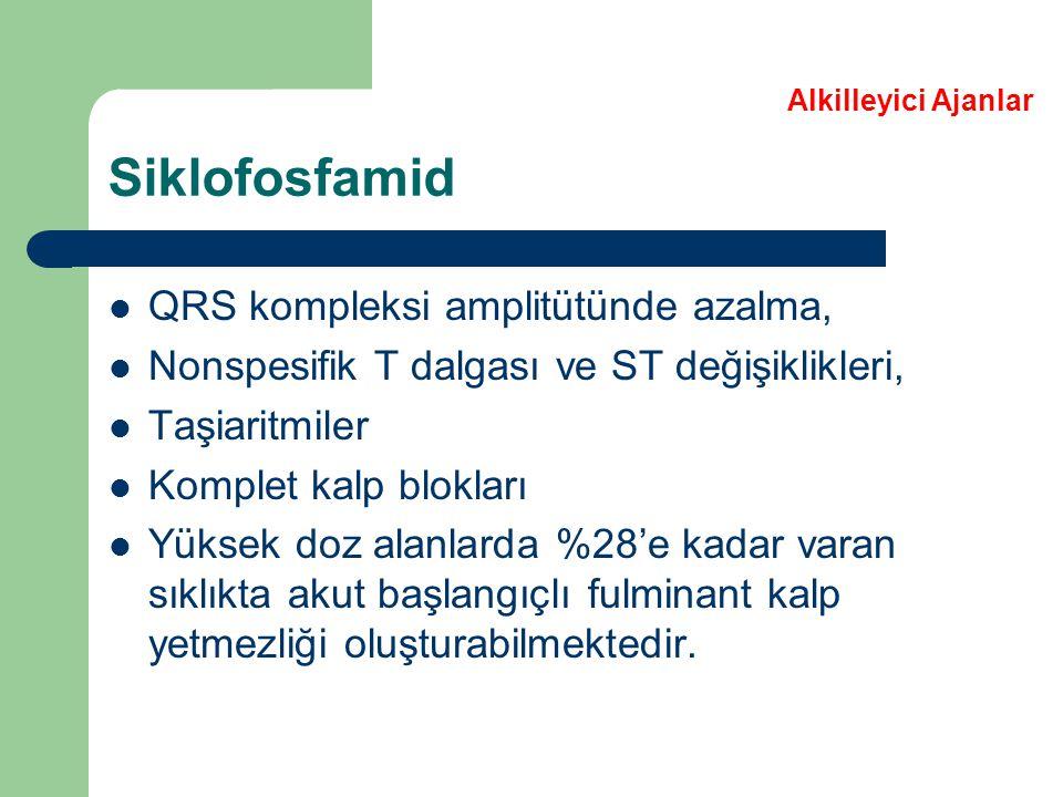 Siklofosfamid QRS kompleksi amplitütünde azalma,