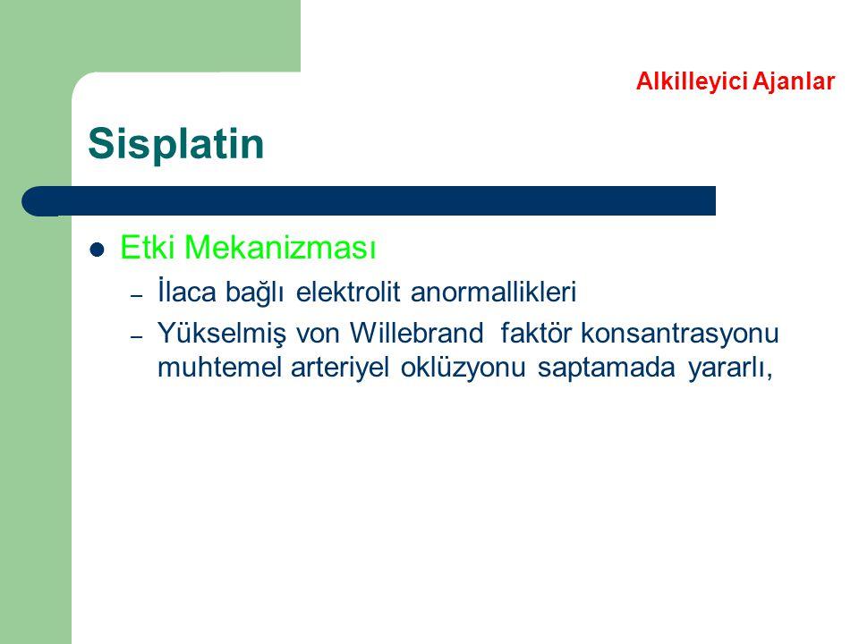 Sisplatin Etki Mekanizması İlaca bağlı elektrolit anormallikleri