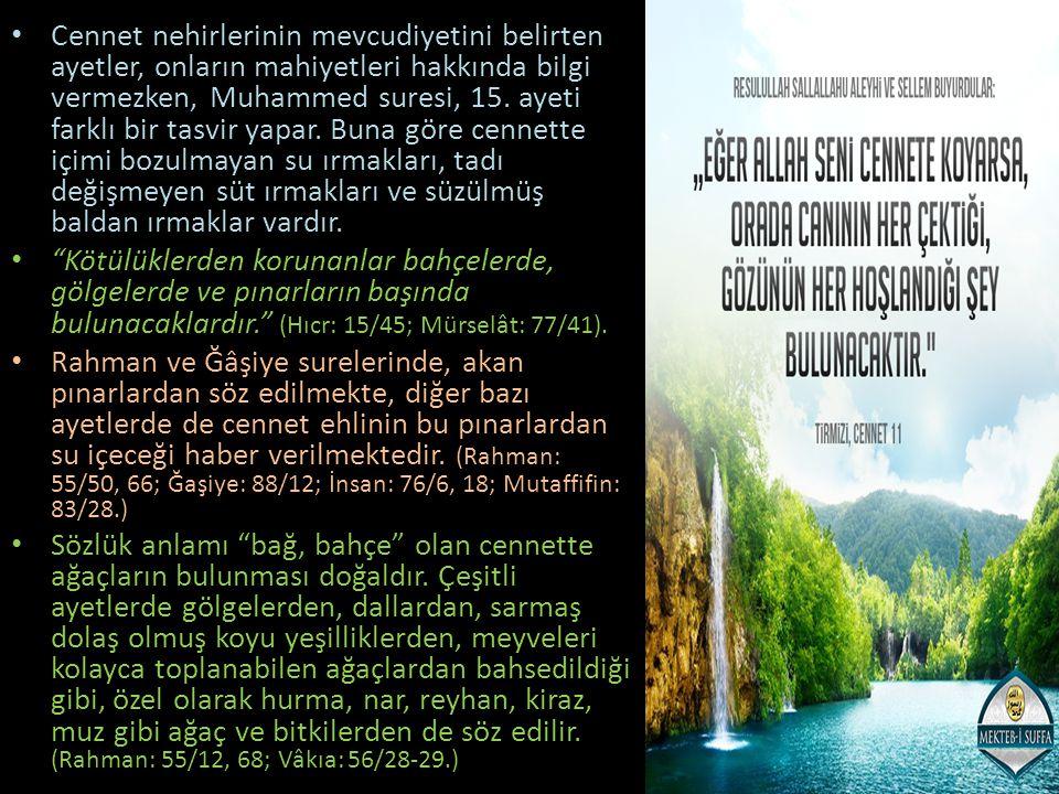 Cennet nehirlerinin mevcudiyetini belirten ayetler, onların mahiyetleri hakkında bilgi vermezken, Muhammed suresi, 15. ayeti farklı bir tasvir yapar. Buna göre cennette içimi bozulmayan su ırmakları, tadı değişmeyen süt ırmakları ve süzülmüş baldan ırmaklar vardır.