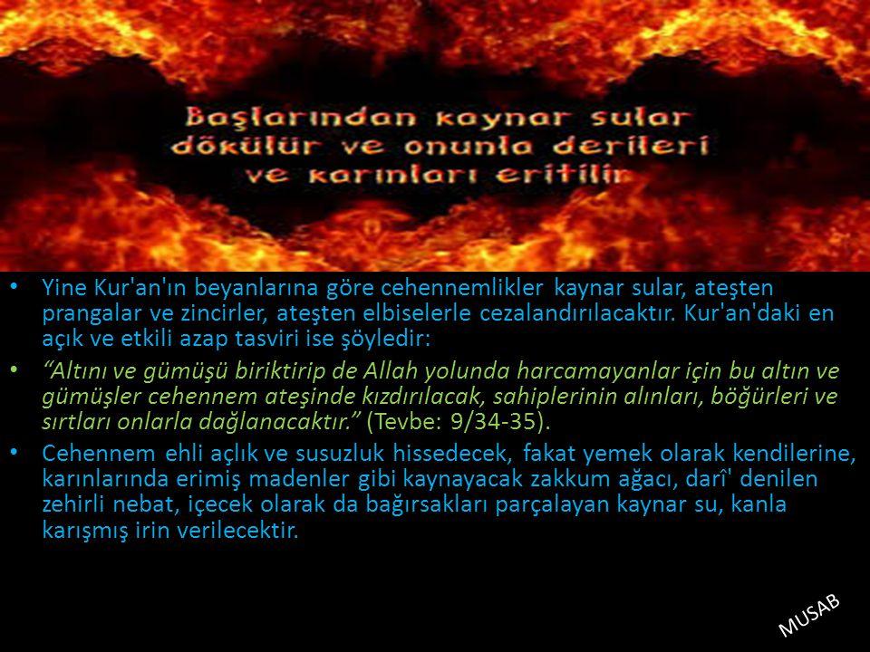Yine Kur an ın beyanlarına göre cehennemlikler kaynar sular, ateşten prangalar ve zincirler, ateşten elbiselerle cezalandırılacaktır. Kur an daki en açık ve etkili azap tasviri ise şöyledir: