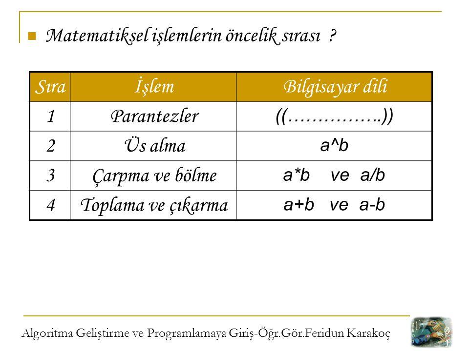 Matematiksel işlemlerin öncelik sırası Sıra İşlem Bilgisayar dili 1