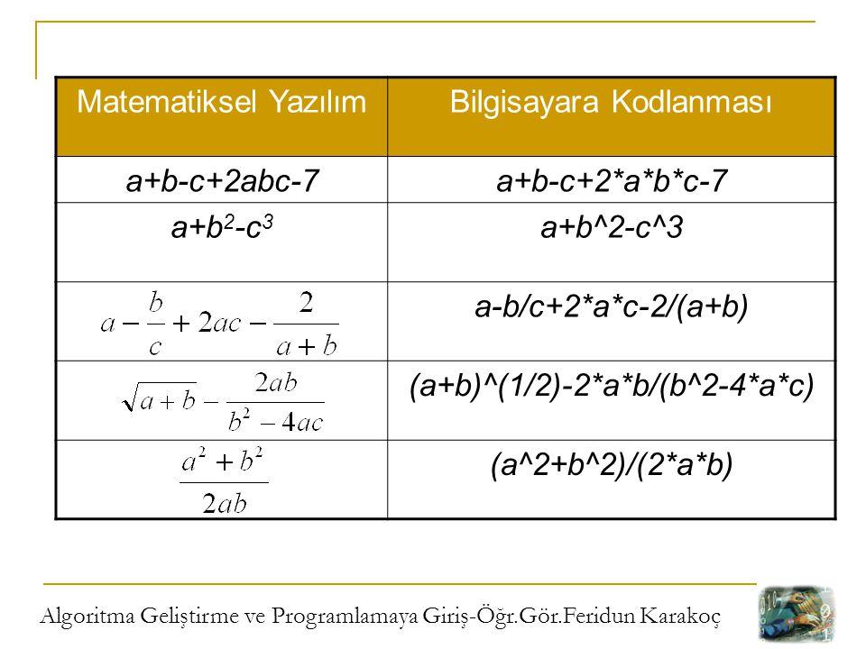 Bilgisayara Kodlanması a+b-c+2abc-7 a+b-c+2*a*b*c-7 a+b2-c3 a+b^2-c^3