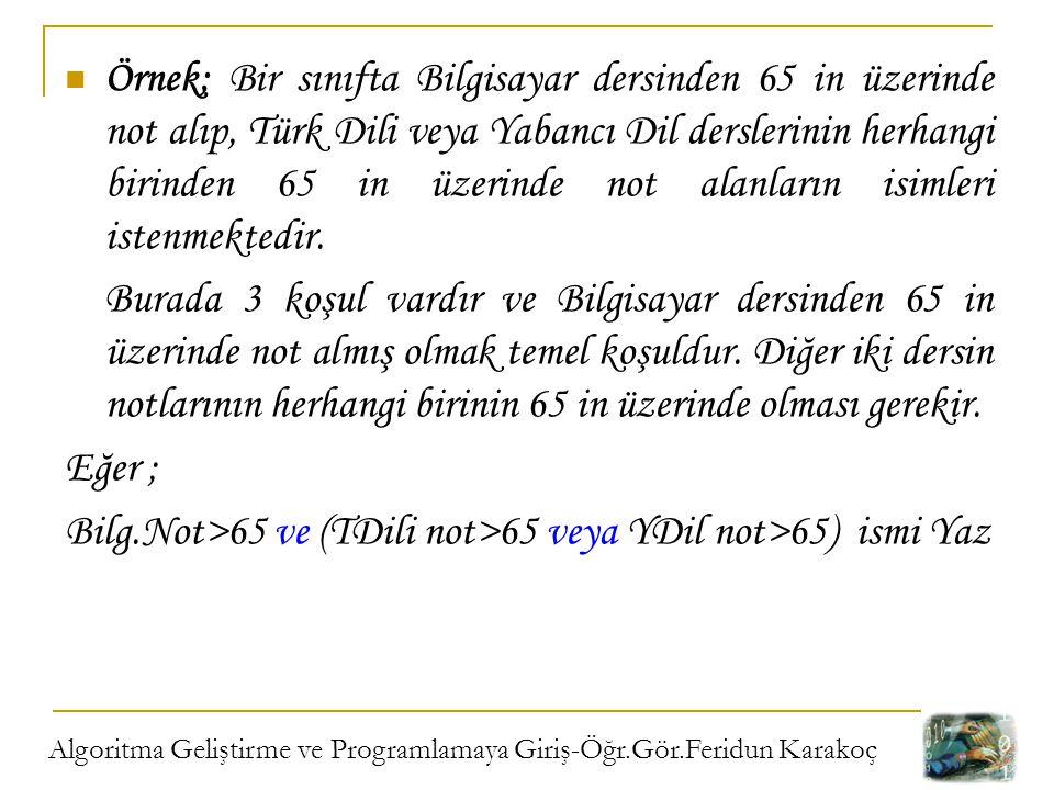 Bilg.Not>65 ve (TDili not>65 veya YDil not>65) ismi Yaz