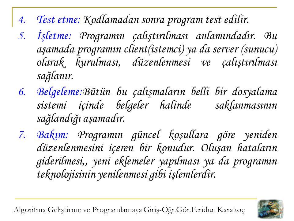 Test etme: Kodlamadan sonra program test edilir.
