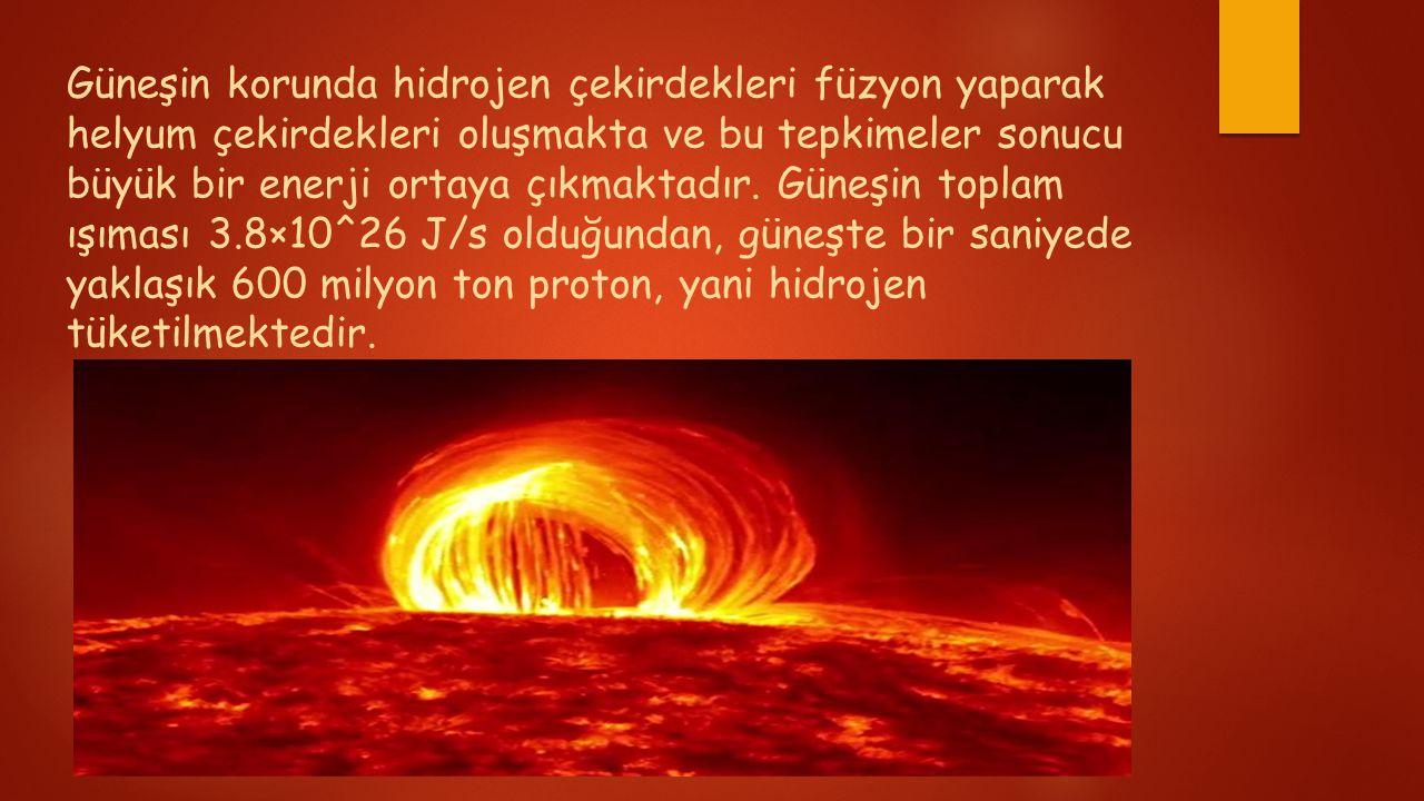 Güneşin korunda hidrojen çekirdekleri füzyon yaparak helyum çekirdekleri oluşmakta ve bu tepkimeler sonucu büyük bir enerji ortaya çıkmaktadır.