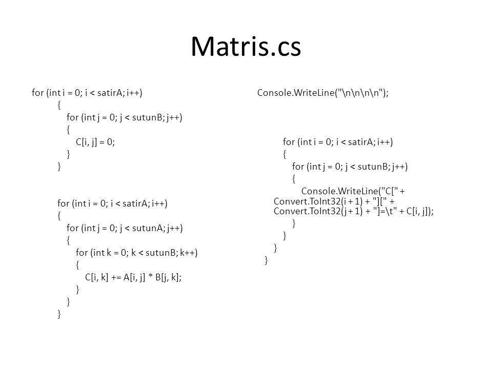 Matris.cs