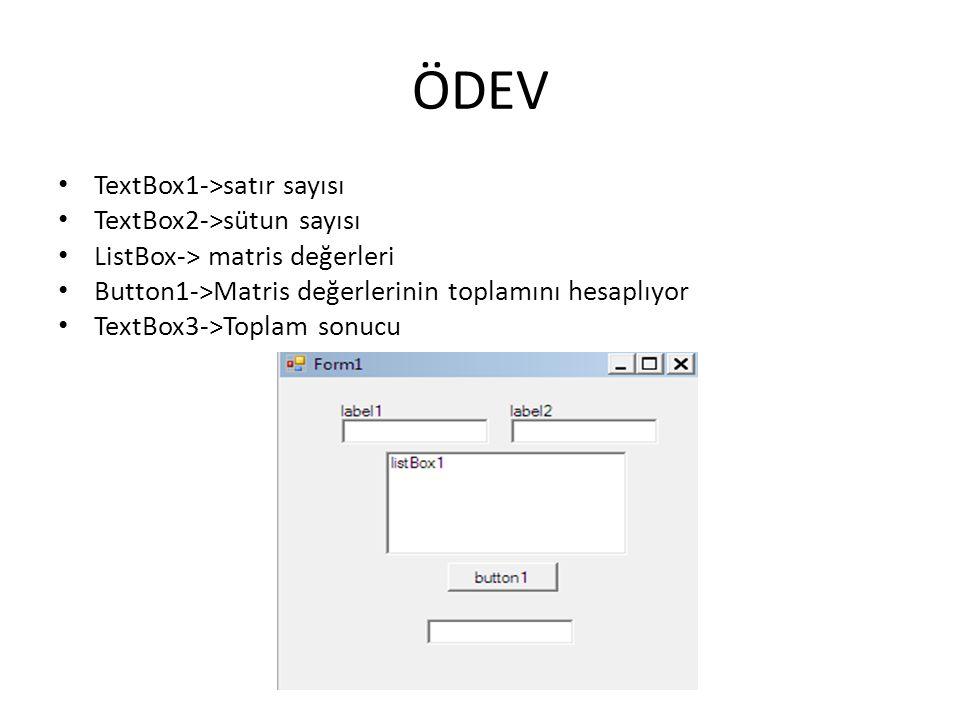 ÖDEV TextBox1->satır sayısı TextBox2->sütun sayısı
