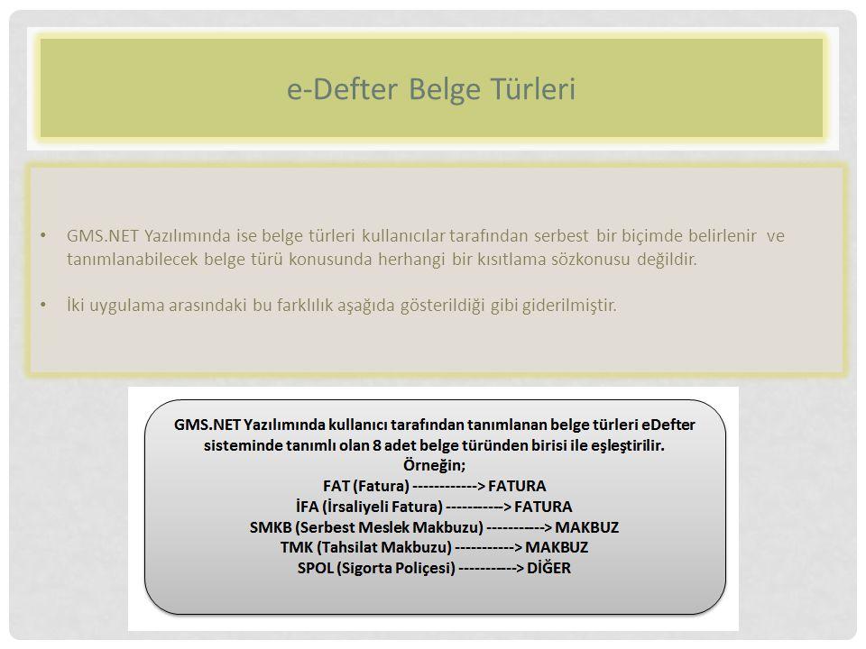 e-Defter Belge Türleri
