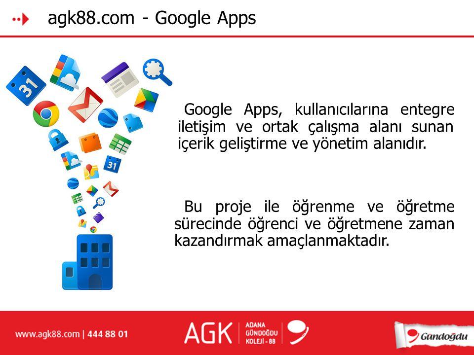 agk88.com - Google Apps Google Apps, kullanıcılarına entegre iiletişim ve ortak çalışma alanı sunan iiçerik geliştirme ve yönetim alanıdır.