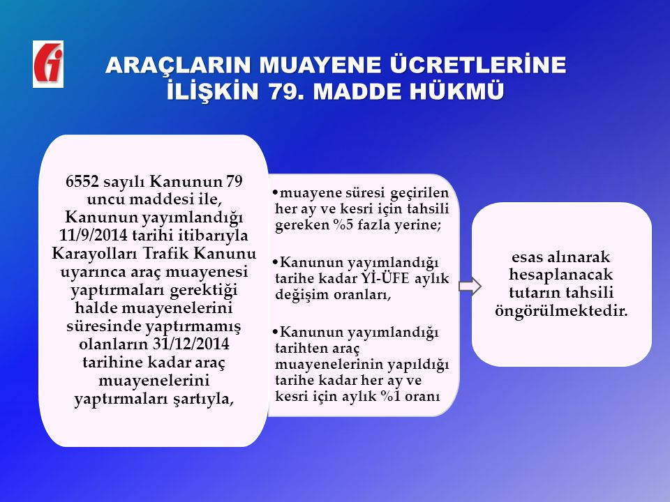 ARAÇLARIN MUAYENE ÜCRETLERİNE İLİŞKİN 79. MADDE HÜKMÜ