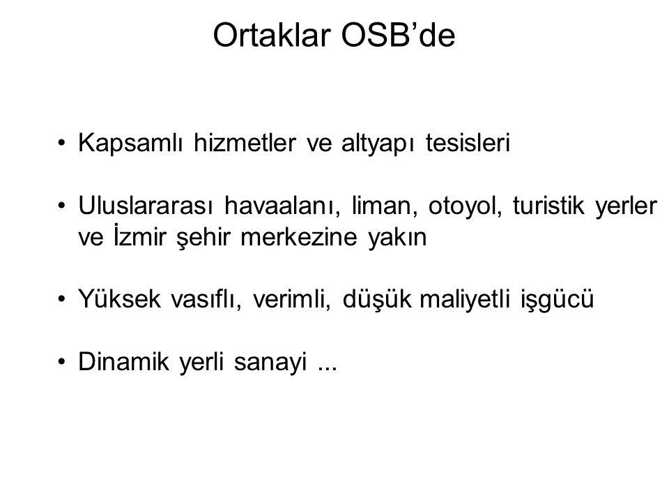 Ortaklar OSB'de Kapsamlı hizmetler ve altyapı tesisleri