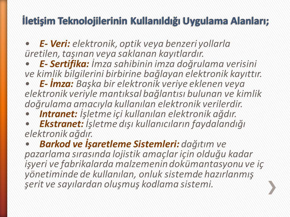 İletişim Teknolojilerinin Kullanıldığı Uygulama Alanları;
