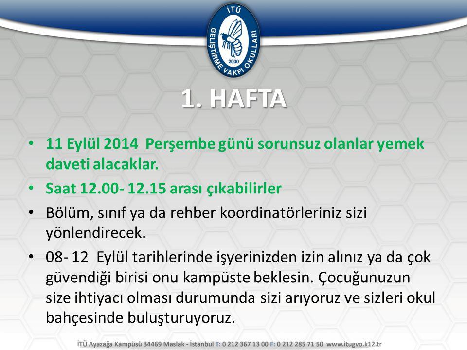 1. HAFTA 11 Eylül 2014 Perşembe günü sorunsuz olanlar yemek daveti alacaklar. Saat 12.00- 12.15 arası çıkabilirler.