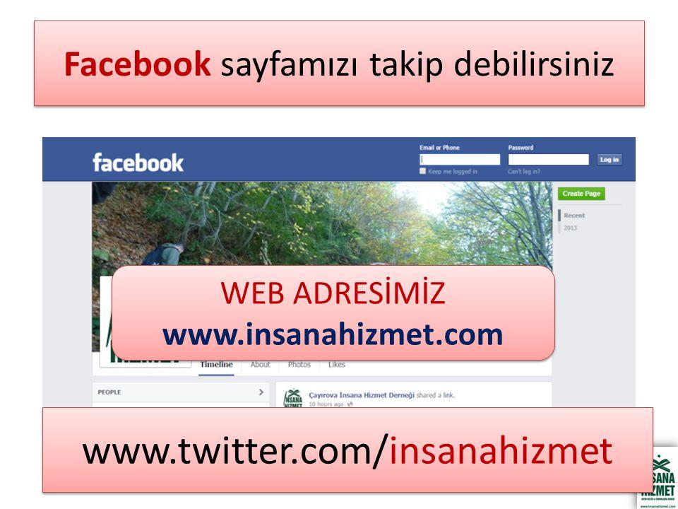 Facebook sayfamızı takip debilirsiniz