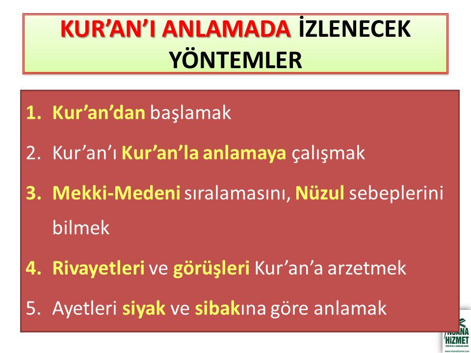 KUR'AN'I ANLAMADA İZLENECEK YÖNTEMLER