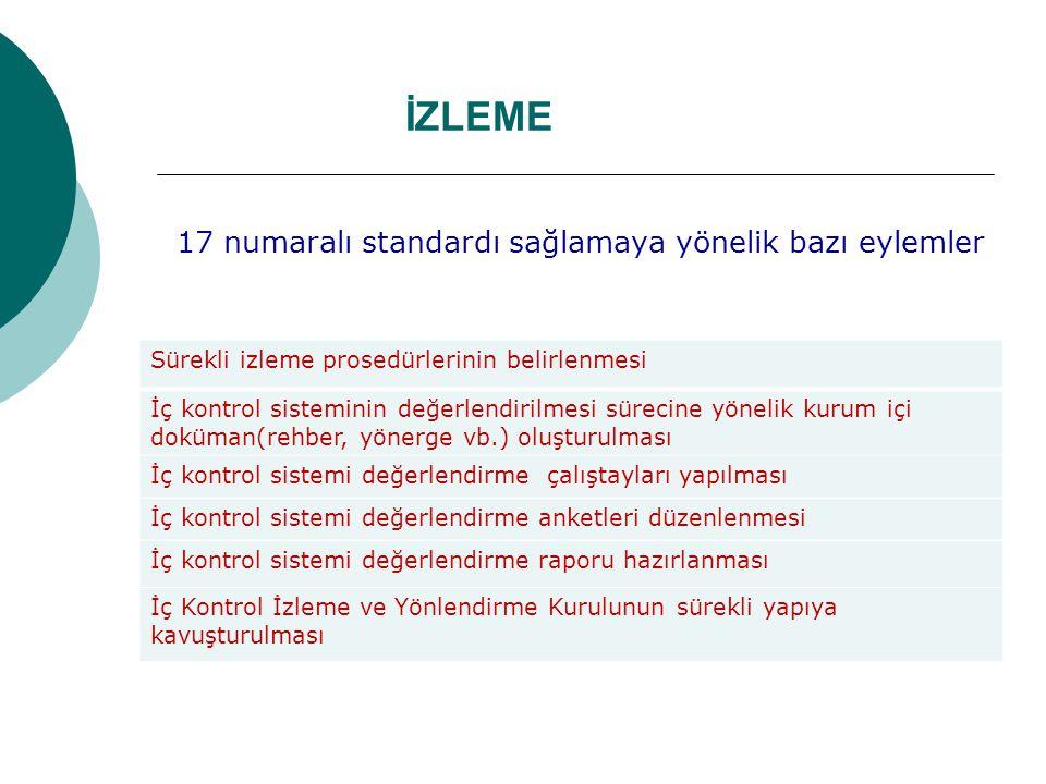 İZLEME 17 numaralı standardı sağlamaya yönelik bazı eylemler