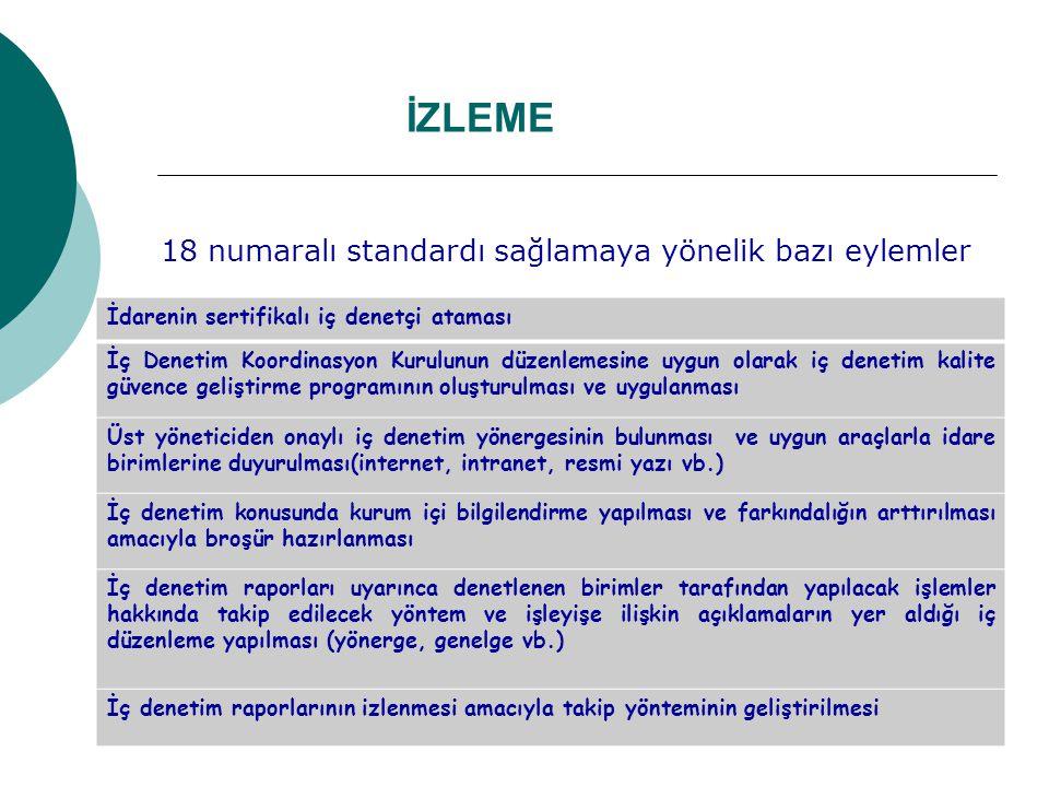 İZLEME 18 numaralı standardı sağlamaya yönelik bazı eylemler