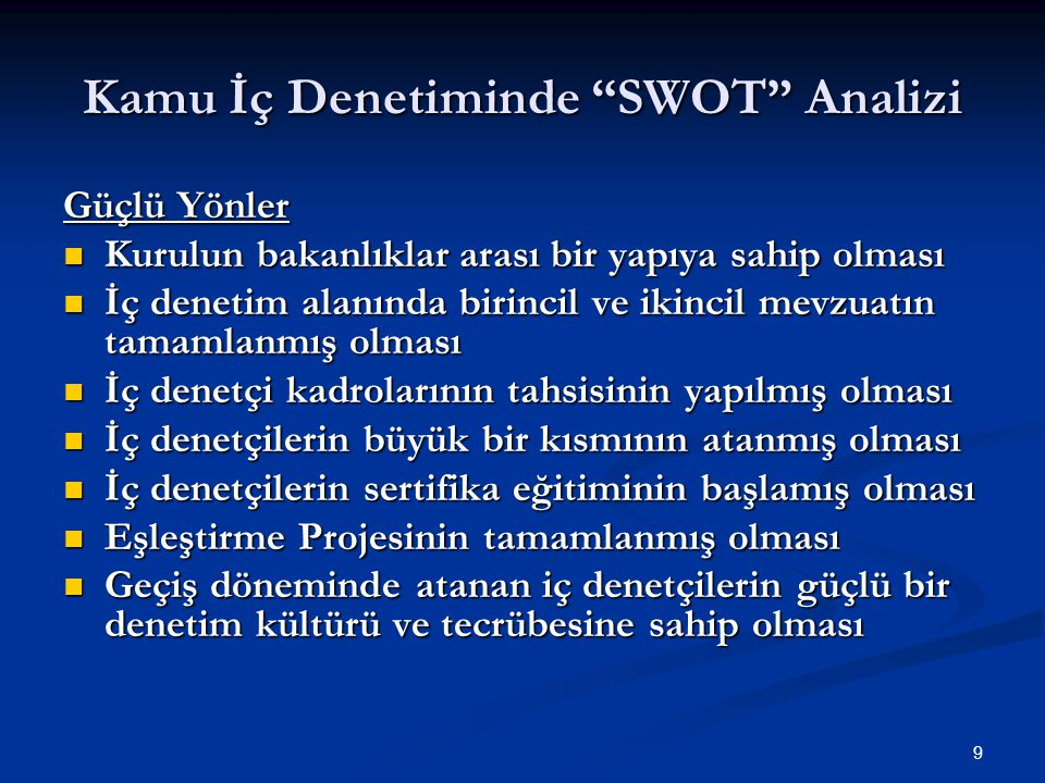 Kamu İç Denetiminde SWOT Analizi