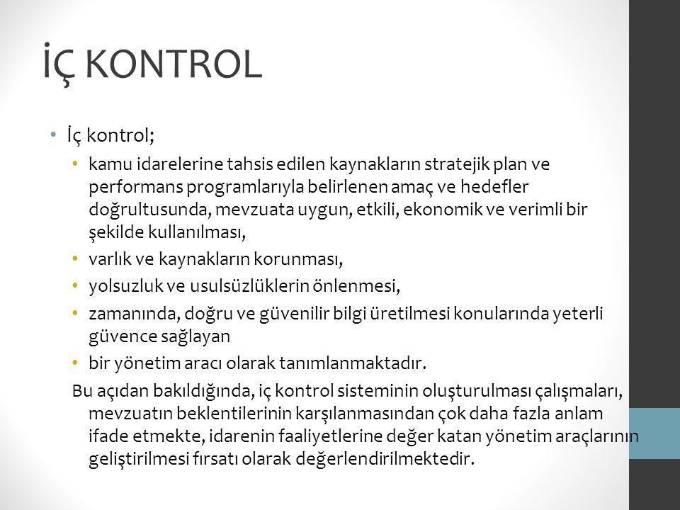 İÇ KONTROL İç kontrol;