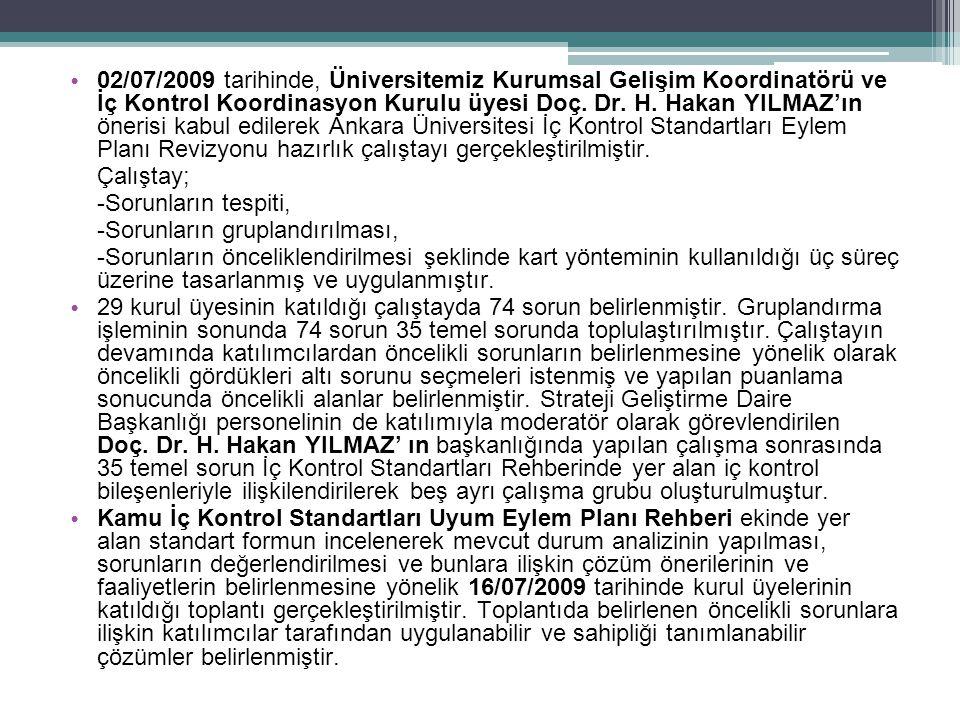 02/07/2009 tarihinde, Üniversitemiz Kurumsal Gelişim Koordinatörü ve İç Kontrol Koordinasyon Kurulu üyesi Doç. Dr. H. Hakan YILMAZ'ın önerisi kabul edilerek Ankara Üniversitesi İç Kontrol Standartları Eylem Planı Revizyonu hazırlık çalıştayı gerçekleştirilmiştir.