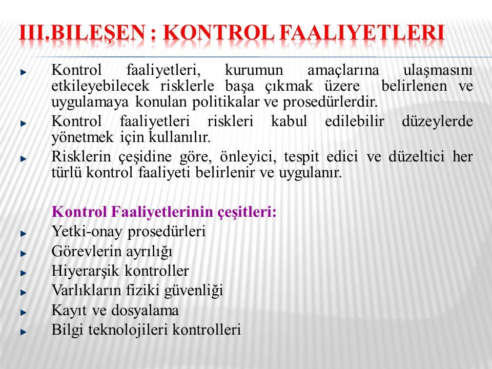 III.Bileşen : Kontrol Faaliyetleri