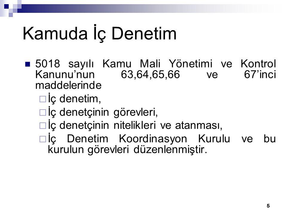 Kamuda İç Denetim 5018 sayılı Kamu Mali Yönetimi ve Kontrol Kanunu'nun 63,64,65,66 ve 67'inci maddelerinde.