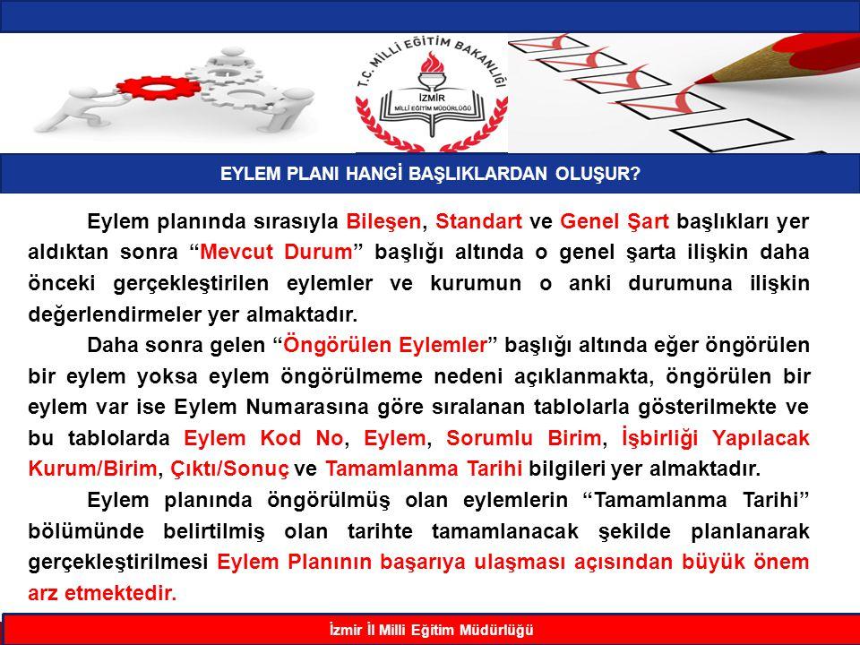 EYLEM PLANI HANGİ BAŞLIKLARDAN OLUŞUR İzmir İl Milli Eğitim Müdürlüğü