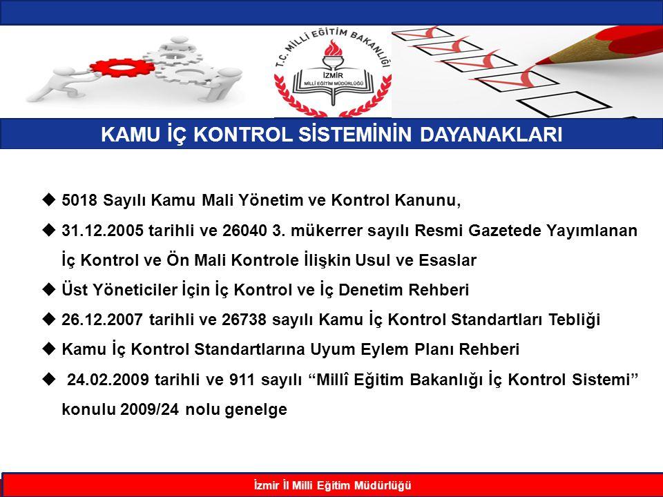 KAMU İÇ KONTROL SİSTEMİNİN DAYANAKLARI İzmir İl Milli Eğitim Müdürlüğü