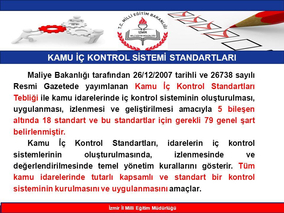 KAMU İÇ KONTROL SİSTEMİ STANDARTLARI İzmir İl Milli Eğitim Müdürlüğü