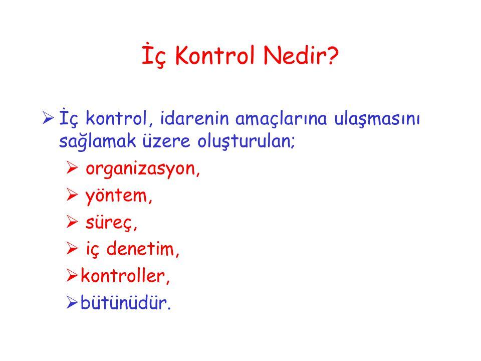 İç Kontrol Nedir İç kontrol, idarenin amaçlarına ulaşmasını sağlamak üzere oluşturulan; organizasyon,