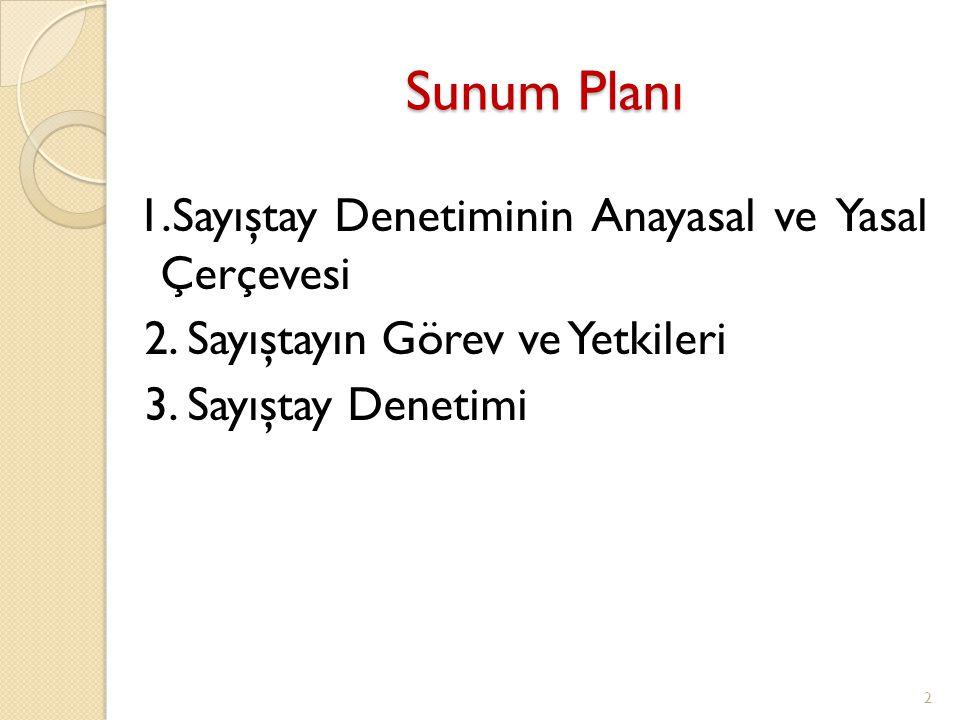 Sunum Planı 2. Sayıştayın Görev ve Yetkileri 3. Sayıştay Denetimi