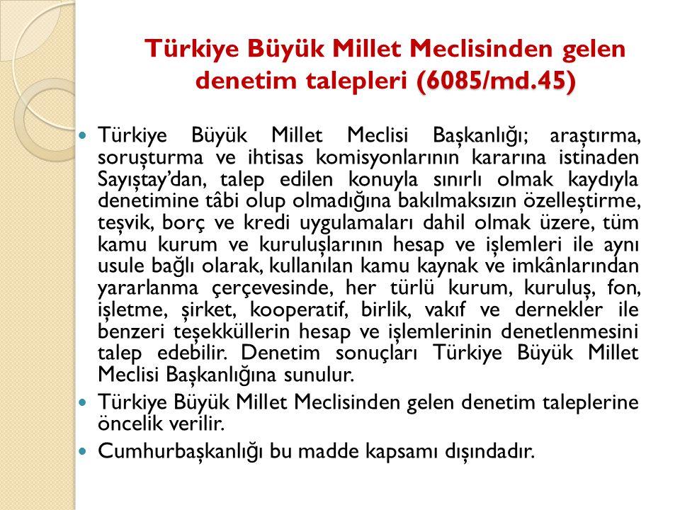 Türkiye Büyük Millet Meclisinden gelen denetim talepleri (6085/md.45)