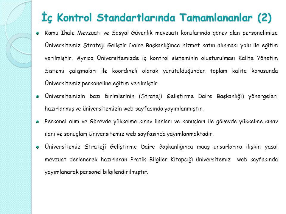 İç Kontrol Standartlarında Tamamlananlar (2)