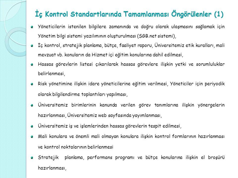İç Kontrol Standartlarında Tamamlanması Öngörülenler (1)